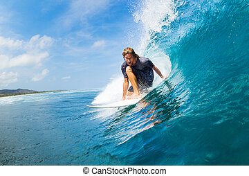 Surfing - Surfer Riding Large Blue Ocean Wave