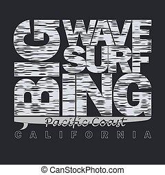 Surfing t-shirt graphic design.