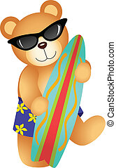 Surfing Teddy Bear - Scalable vectorial image representing a...