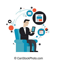 Surfing the net flat illustration concept