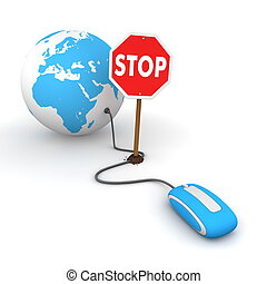 Surfing the Web in Blue - Blocked by a Stop sign - blue...