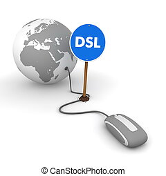 """grey computer mouse is connected to a grey globe - surfing and browsing is accompanied by a blue sign with the word """"DSL"""""""