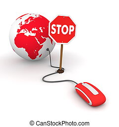 Surfing the Web in Red - Blocked by a Stop sign - red...