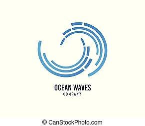 surfing, towarzystwo, machać, woda, wektor, morze, fale, icon., logo.