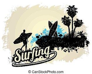 Surfing typographic poster design
