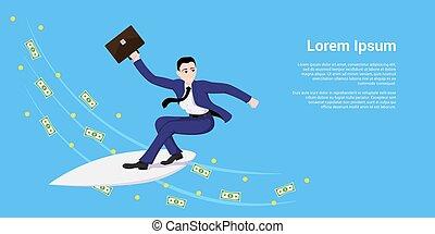 surfing, uomo affari