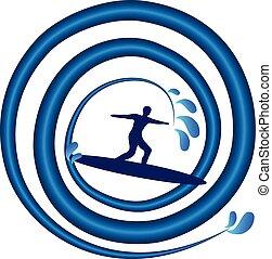 surfing, uomo, su, onda, logotipo