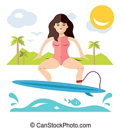 Surfing. Vector Flat style colorful Cartoon illustration.