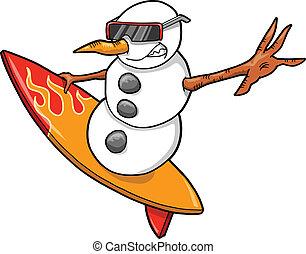 surfista, boneco neve, ilustração, vetorial