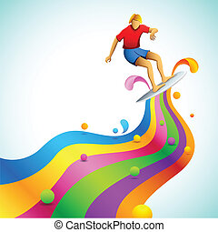 surfista, coloridos, onda