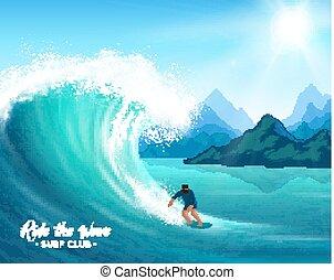 surfista, e, onda grande, ilustração