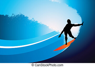 surfista, fundo, onda