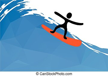 surfista, ligado, onda, vetorial, ilustração