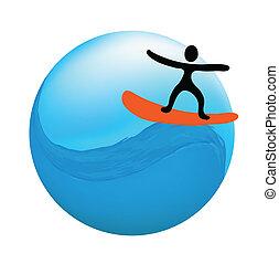 surfista, ligado, onda, vetorial, logotipo, ilustração
