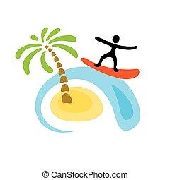 surfista, ligado, onda, vetorial, logotipo