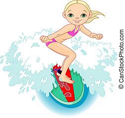 surfista, menina, ação