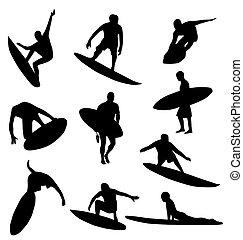 surfista, silhuetas, cobrança