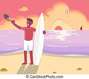 surfista, tábua, homem