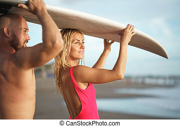 surfistas, em, verão