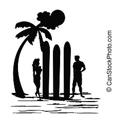 surfs up concept in silhouette