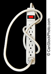 A basic surge protector electric outlet isolated on black background