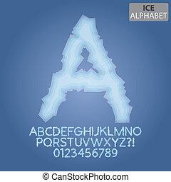 surgelé, alphabet, vecteur, nombres, glace