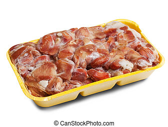 surgelé, cru, poulet, gizzard