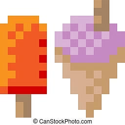 surgelé, glace, pixel, yaourth, 8, morceau, crème, fric, icône