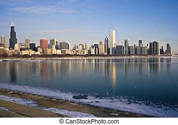 surgelé, michigan, lac, chicago