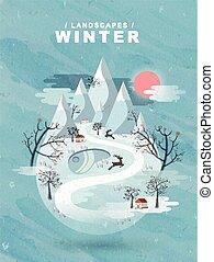 surgelé, paysage hiver, conception, plat