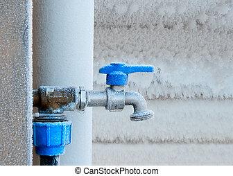 surgelé, robinet, hiver