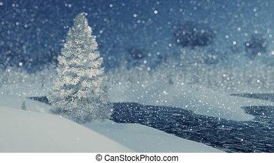 surgelé, sapin, rivière, chute neige, neigeux