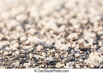 surgelé, surface., asphalte