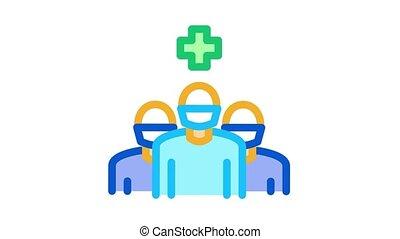 surgeon and nurses Icon Animation. color surgeon and nurses animated icon on white background
