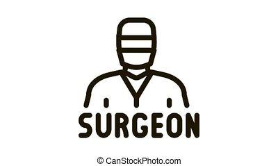 surgeon doctor Icon Animation. black surgeon doctor animated icon on white background