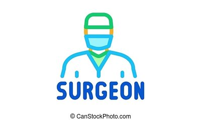 surgeon doctor Icon Animation. color surgeon doctor animated icon on white background
