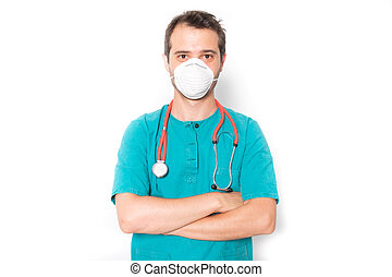 Surgeon doctor wearing a mask to prevent virus infection