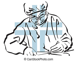 Surgeon - illustration of a surgeon at work in the operating...