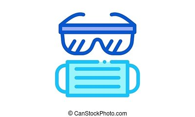 surgeon facial mask and glasses Icon Animation. color surgeon facial mask and glasses animated icon on white background
