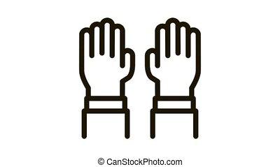 surgeon gloves Icon Animation. black surgeon gloves animated icon on white background