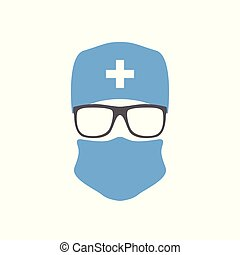 Surgeon in hat ,mask and glasses. Doctor icon. Vector...
