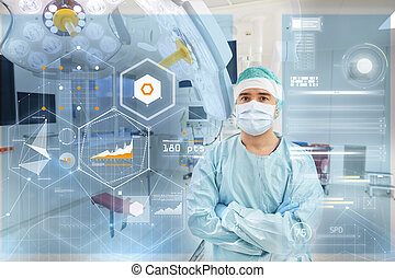 surgeon in operating room at hospital with charts