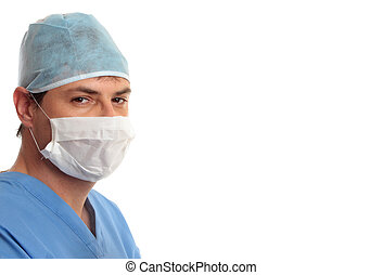 Surgeon in scrubs looking forward with space for text