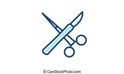 Surgeon instruments icon. Surgery animated linear sign.