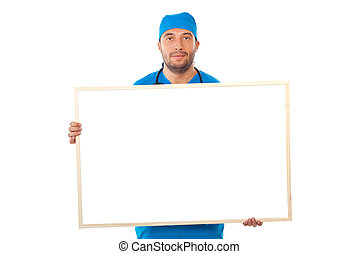 Surgeon man holding blank banner