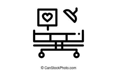 surgeon medical table Icon Animation. black surgeon medical table animated icon on white background