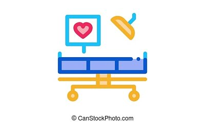 surgeon medical table Icon Animation. color surgeon medical table animated icon on white background