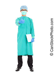 surgeon or checker thumb up and standing over white