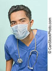 Surgeon portrait with mask - Portrait of a confident doctor...