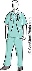 surgeon standing vector illustration sketch hand drawn with black lines isolated on white background